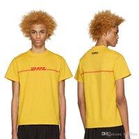 мужская футболка dhl оптовых-VETEMENTS желтый DHL футболка Мужчины Женщины 2016 Топ-версия улица прилив бренд хлопок Yeezus мода пара топы