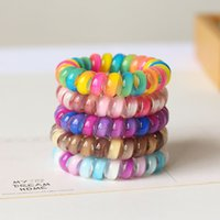 Wholesale telephone phone holder resale online - Gradient Telephone Wire Hair Band Gradient colorful Ponytail Holder Elastic Phone Cord Line Hair Tie Hair Accessories kids gift FFA3731