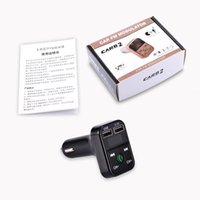 Wholesale CAR Kit B2 Multifunction Bluetooth Transmitter A Dual USB Car chargers FM MP3 Player Car Kit Support TF Card Handsfree With retail box
