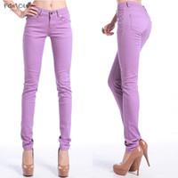 jeans ajustados elásticos de alta para mujer al por mayor-Fuerza de color vaqueros elásticos Mujer Vaqueros Pantalones altos caramelo pantalones vaqueros para mujer estiramiento flacos de mujeres Pantalones