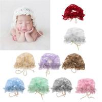 ingrosso beanie del merletto della neonata-Cappello estivo per neonato Berretto bambina Berretto con risvolto Berretto con pizzo per bambina Puntelli per foto