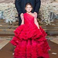 vestido princesa princesa venda por atacado-Unique Red Princess Little Girls Pageant Vestidos de Um Ombro Manga Longa Ruffles Saia Lantejoulas Meninas Queque Aniversário Vestidos Da Criança