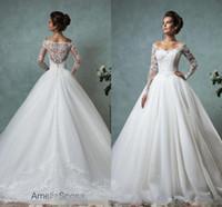 sexy vintage-shirt groihandel-Vintage 2020 Amelia Sposa Brautkleider Langarm-V-Ausschnitt Appliques-Spitze-Hochzeit Brautkleider Partei-Kleid
