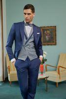 Wholesale gray wool vest for sale - Group buy Newest One Button Groomsmen Peak Lapel Wedding Groom Tuxedos Men Suits Wedding Prom Dinner Best Man Blazer Jacket Tie Vest Pants