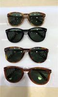 gafas de color tortuga al por mayor-Gafas de sol piloto plegables 714 Tortoise / Green para hombre Moda gafas de sol Sombras A estrenar con caja