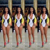 ingrosso bikini gialli sexy-Sexy Strettamente Bikini Con Zipper A Maniche Lunghe Costume Da Bagno Donna Un Pezzo Set Swimmwear Rosso Viola Colore Giallo 29om E1