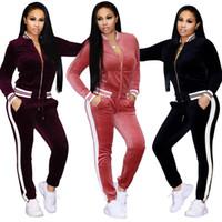 yaka sweatshirt sporlar toptan satış-Bayan Kadife Spor Takım Elbise Set 2 Adet Standı Yaka Fermuar Kazak Rahat Eşofman Pantolon Yoga Sportwear PPA39