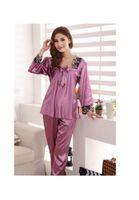 lila satin-pyjama großhandel-mrwonder Baihong Women`s Satin Silk Nachtwäsche Homedress Pyjamas (L, Lila)