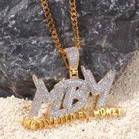 14k altın mektup kolye toptan satış-Özel mektup Küba Zinciri Ile Para Ile Motive Edilmiş Kolye Altın gümüş Renk Bling Kübik Zirkon erkek Hip hop Kolye Takı Için hediye