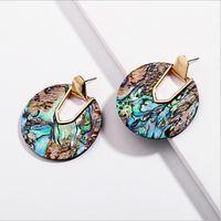 inspirierte ohrringe großhandel-Kendra Style Designer inspiriert Abalone Shell Leopard Türkis Naturstein Schmuck Aragon Oval Dangle Drop Statement Ohrringe für Frauen