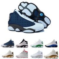 Wholesale quality shoes online resale online - Online Cheap High Quality Shoes XIII S Mens Designer Basketball Shoes Bred Black Brown White Hologram Flints Grey Sports Sneakers