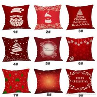 Wholesale santa claus bedding resale online - Santa Claus Tree Deer Cushion Covers Merry Christmas Household Pillowcase Home Sofa Bed Decoration cm Pillow Covers BH0205