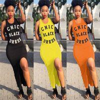 siyah düzensiz etek toptan satış-Kadın Chic Siyah Elbise Mektup Baskılı Kolsuz Yaz Elbise Yelek Tank Maxi Elbiseler Düzensiz Bölünmüş Etek Bodycone Tayt S-XL C42601