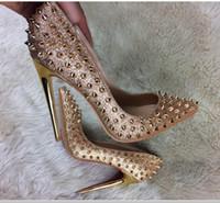 kadın papağanı için topuklar toptan satış-Yeni tip altın sequins Sivri perçin Sığ ağız Ince topuk kadın yüksek topuk ayakkabı Gelin düğün ayakkabı 8 cm 10 cm 12 cm kırmızı alt büyük boy 44