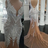 nackte backless prom kleider großhandel-Arabisch Abendkleid Lange Nude V-Ausschnitt Backless Mermaid Tüll Perlen Kristall Prom Kleider Celebrity Party Kleider