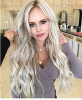 Wholesale laced front gray wigs resale online - Women Fashion Synthetic Hair Lace Front Wig Body Wavy Curly Full Wigs Ombre Gray