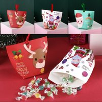 cookies verpacken weihnachten großhandel-Christmas Candy Wrap Kästen Weihnachten Snack-Süßigkeit-Plätzchen-Paket Geschenk-Beutel Merry Xmas 3D-Druck-Karten-Papier-Süßigkeit-Kasten