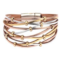 böhmische manschetten armbänder metall großhandel-Böhmischen Stil Frauen Metallperlen Charme Kunstleder Multilayer Armband Magnetic Cuff Bangle
