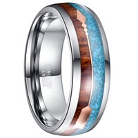Wholesale silver promise rings for couples resale online - 9mm Silver Color Tungsten Wood Rings For Men Jewelry Blue Opal Wood Men Engagement Couple Promise Rings
