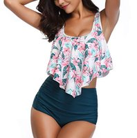 Wholesale two piece swimwear for plus size online - Swimsuit Women Two Piece Plus Size Sexy Backless Halter Floral Printed Swimwear Set Swimming Suit For Women Bikini