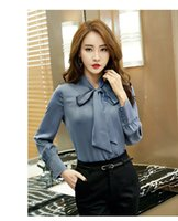 ingrosso le camicie estive delle donne variano-Camicie a maniche lunghe da donna a maniche lunghe da ufficio con fiocco in fiocco. Abbigliamento femminile