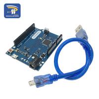 câbles arduino achat en gros de-Carte de développement Atmega32u4 pour microcontrôleur Leonardo R3 avec câble USB compatible avec le kit de démarrage Arduino DIY