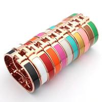 h bracelet rose achat en gros de-2019 Mode Nouveau Designer H Lettre Rose Bracelet en plaqué or 316L en acier inoxydable bracelet pour les femmes cadeau