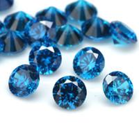 Wholesale fire gem online - 100pcs A Grade Dark SeaBlue Color mm Cubic Zirconia Stone Round Cut Loose CZ Stone Synthetic Gems