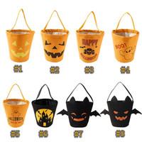 fãs da pena para casamentos venda por atacado-Halloween Candy Bucket lona papel de embrulho Sacos Festival Bolsas miúdos para decorações do partido 8 estilos Dia das Bruxas Bolsas ZZA1173