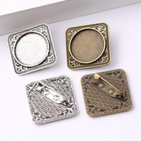 Wholesale needle brooch resale online - cabochon brooch pin blanks settings antique silver antique bronze mm dia blank metal bezels for brooches making diy accessories