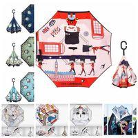 anime guarda-chuva venda por atacado-Totoro dos desenhos animados Guarda-chuva Invertida Totoro Invertida Reversa Guarda-chuva Automático Totoro Anime Chuva Mulheres Parasol Guarda-chuva LJJK1522