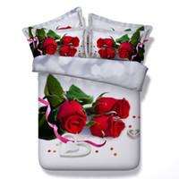 conjunto de quilt de rosa vermelha venda por atacado-100% de algodão de Luxo 3D Rose conjunto de Cama Lençóis de Cama Cor vermelha Set Cama Fronha colcha de casamento para o quarto capa de edredon