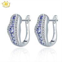 Wholesale tanzanite jewelry resale online - Hutang Tanzanite Women s Clip Earrings Solid Sterling Silver Natural Gemstone Fine Elegant Jewelry for Gift New Arrival CJ191202