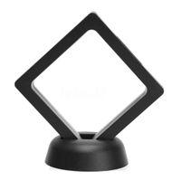 exibição de moldura de jóias venda por atacado-Praça Álbuns de flutuação 3D Titular Quadro Coin jóias caixa de exibição Show Case 9x9cm (com a base) Home Decor