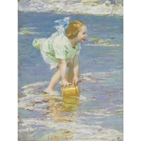 ingrosso dipinti bambine-Bella opera d'arte di Edward Henry Potthast in vendita Little Girl in Green abstract paintings Canvas Handmade