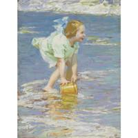 pinturas meninas venda por atacado-Linda Edward Henry Potthast obras de arte para venda Little Girl in Green pinturas abstratas Canvas Handmade