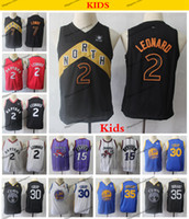 Wholesale boys blue basketball jerseys resale online - 2019 Kids Kawhi Leonard Kyle Lowry Vince Carter Basketball Jerseys Youth Golden Stephen Curry Kevin Durant Blue Jersey
