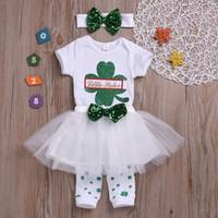 Wholesale tutu leg warmer resale online - Baby Designer St Patricks Day little Sister Print girls clothing sets baby girl sequin bows letter rompers tutus leg warmer headband