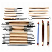 Wholesale wax carving tool kit resale online - 30pcs pack Clay Sculpting Kit Sculpt Smoothing Wax Carving Pottery Ceramic Tools Wooden Handle Modeling Clay Tools