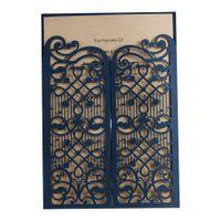 gelin davet kağıtları toptan satış-1 Adet Fold Kapısı Lacivert Zarif Lazer Kesim Düğün Davetiyeleri, Gelin Duş Quinceanera Parti için Doğum Günü Davetiye Kartları