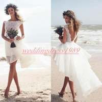 Wholesale shorter lace wedding dress for sale - Group buy Romantic Short Lace Wedding Dresses Beach Summer Backless High Low South African Bridal Ball Gown For Bride Arabic Mariage robe de mariée