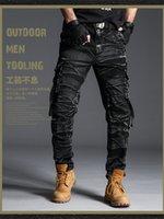 calças de swat preto venda por atacado-Tático camuflagem Cargo Calças Dos Homens do Exército SWAT Calças de Combate Paintball Masculino Casual Muitos Bolsos de Trabalho Calças de Carga Preta 7980