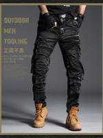 черные шорты оптовых-Tactical camo Cargo Pants Men Army  SWAT Pants Combat Paintball Male Casual Many Pockets Work Black Cargo Trousers 7980
