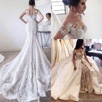 Wholesale sexy short wedding dresses detachable train resale online - 2020 Luxury Mermaid Wedding Dresses Jewel Neck Lace Appliqued Beaded Cap Sleeves Sheer Detachable Train Overskirts Plus Size Bridal Gowns