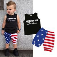 полосатые шорты верхний набор оптовых-Toddler Baby Boys Casual Clothes T-shirt Tops+Pants Shorts Outfits Set Black Letter Sleeveless Top Striped Stars Pants