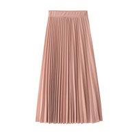 ingrosso lunga gonna pieghettata nuda-2019 Gonna a pieghe lunghe a molla Autunno-Linea Coreano Nude Pink Womens Gonne street wear