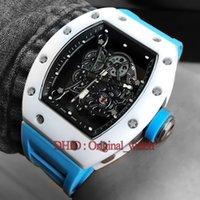 neue handband mode großhandel-Neue 055 Luxusuhr Herren Designeruhren Handaufzug Armbanduhren Blue Rubber Band Hohl Bewegung Mode Herrenuhren Montre de Luxe