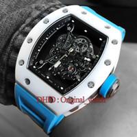 ingrosso nuove bande di mano di moda-New 055 Luxury Watch Mens Designer Orologi da polso a carica manuale Blue Rubber Band Hollow Movimento Moda uomo orologi montre de luxe