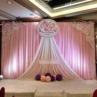 Wholesale baby shower supplies free shipping for sale - Group buy New ftX20ft Gold and White wedding backdrop stage curtain wedding party baby shower decorations supply
