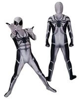 futuro disfraz al por mayor-Unisex 3D Future Foundation Traje de Cosplay de Spiderman Superhéroe Lycar Spandex Alta Calidad Zentai Body Catsuit Jumpsuit